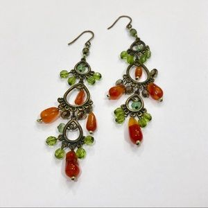 Green and Orange Chandelier Earrings